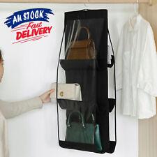 6 Pocket Home Hanging Storage Handbag Closet Hangers Organizer Purse Shelf Rack