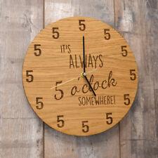 It's Always Five O'Clock Somewhere Clock - Oak Wooden Clock It is 5 O Clock Gift