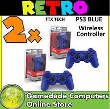 2x TTX Tech PS3 BLUE Wireless Controller MODEL : NXP3-237 (849172001237) [F05]
