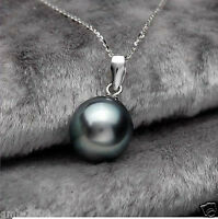 New 14mm Black Mother Of Pearl Shell Pearl Pendant Necklace Chain