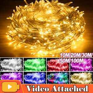 Outdoor 100-2000 LEDS String Lights 10-100M Christmas Tree Party Garden Decor UK