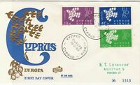 Europa Cyprus 1962 Double Cancels Gold Olive&Birds Pic FDC Stamps Cover Ref26005