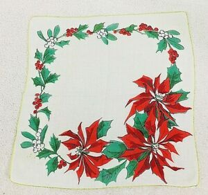 "Vintage Christmas Hankie w Red Poinsettias Mistletoe Holly & Berries 12"""