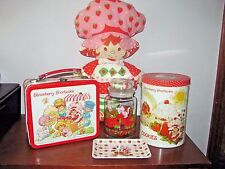 VINTAGE LOT STRAWBERRY SHORTCAKE LUNCHBOX~DOLL~CANDY JAR~TRAY~TIN CANISTER~1980