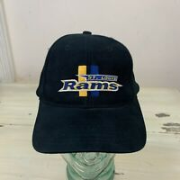 ST LOUIS RAMS: Vtg 90s Logo 7 Black Snapback NFL Hat, Los Angeles Cap, MUST SEE!