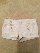 Express  Sailor Shorts Beige Button  Front Linen Cotton Blend Casual