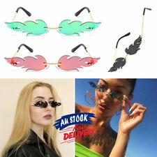 Sunglasses  Rimless Wave  Trendy Fire Flame  Narrow Glasses  Women  Eyewear