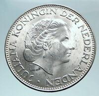 1964 Netherlands Kingdom Queen JULIANA Authentic Silver 2 1/2 Gulden Coin i81016