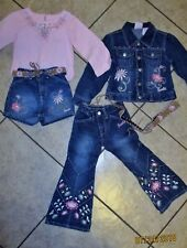 6 PC GIRLS 4/5 BARBIE AVENUE MOD EMBROIDER ACCENT DENIM MIX/MATCH JACKET/SKORT++