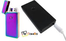 Mechero Plasma USB Bateria Antiviento Sin gas Arcoiris Multicolor Negro