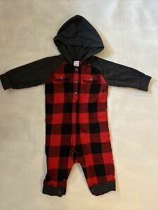 Old Navy Baby Boy 3-6 Months Buffalo Check Hooded Romper Plaid Coverall Red