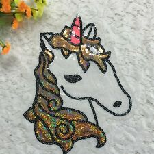 New Large Sew On Sequins Applique Unicorn Horse Pony Patch Motif Personalized US