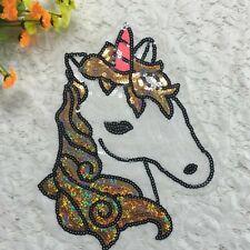 1PC Large Sew On Sequins Applique Unicorn Horse Pony Patch Motif Personalized HX