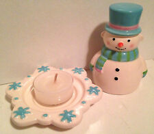 ~ICY CANDLE SNUFFER & TEALIGHT HOLDER~Snowman~**RARE**~Christmas~Partylite~NEW!~