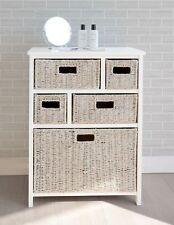 Tetbury White Storage Unit With 5 Whitewash Basket Drawers Fully Assembled Hall