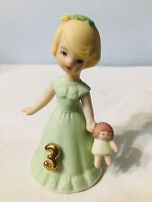 Birthday Girl Enesco Ceramic Age 3 Light Blonde Hair (Cake Top)
