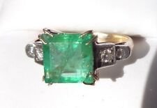 fine old 14k yellow gold 2.5 carat emerald diamond ring size 8