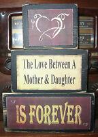 Love Between Mother and Daughter Primitive Rustic Stacking Block Wooden Sign Set