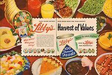 1948 vintage AD LIBBY'S HARVEST OF VALUES Canned Fruit Juice Vegetables (043017)