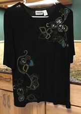 Chico's Travelers Black Short Sleeved Top With Embroidered Flowers Size 2