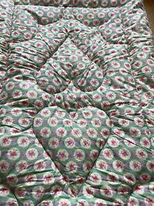 Vintage Floral Rose Feather Filled Eiderdown, Handmade, Bedspread,