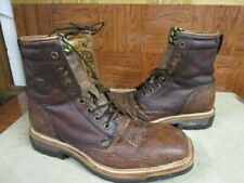 """Twisted X 8"""" Steel Toe Work Boots Distressed Leather Brown Size 8.5 D"""