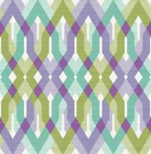 Wallpaper Designer Harbor Lavender Green Aqua Cream Large Lattice