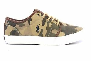 POLO RALPH LAUREN 991336J ETHAN LOW Jr's (M) Tan Camo Canvas Lifestyle Shoes