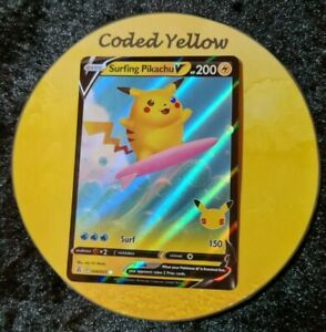 008/025 Surfing Pikachu V  | Pokémon SWSH Celebrations | HALF ART Card | N/M