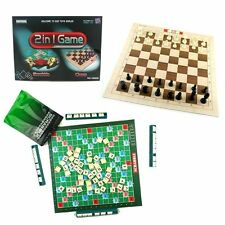 SCRABBLE + CHESS CHECKERS SET FAMILY PARTY TRAVEL BOARD GAME KIDS EDUCATION TOY