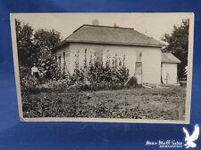 Small House HUGE Hollyhocks Flowers 1915 IDENTIFIED Man Garden Water Pump RPPC