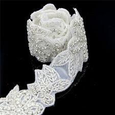 1 Yard Silver Rhinestone Trim Bridal Handmade Beaded Applique Sew Iron on Craft