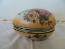 Beautiful Old Brass Hinged Porcelain Egg w/Roses