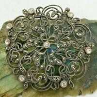 JJ Judith Jack? Vintage Sterling Silver Marcasite Large Brooch 15.8 Grams