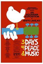 1960's Psychedelic Festival Poster : Woodstock Concert Poster 1969