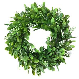 1/2Pcs Artificial Boxwood Hanging Wreath Front Door Garden Flower Wall Garland