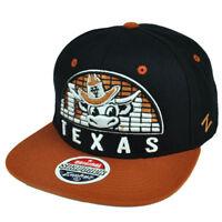 NCAA Zephyr Texas Longhorns Equalizer Snapback Flat Bill Black Hat Cap Sports
