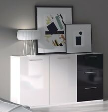Black + White Lanza Sideboard Buffet Cabinet Unit 2 Doors 3 Drawers Melamine