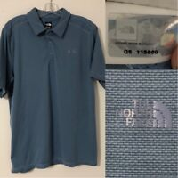 The North Face Men's Size Large Blue Soft Golf Polo Shirt Snap Buttons Logo EUC
