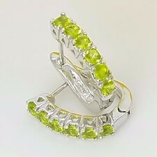 New Sterling Silver Huggie Style Pave Set CZ Lime Green Latch Back Earrings