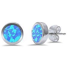 Bezel Blue Fire Opal.925 Sterling Silver Earring