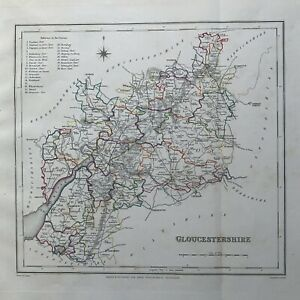 1848 Gloucestershire Original Antique Hand Coloured County Map 172 Years Old