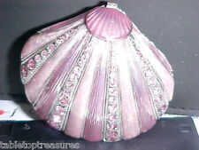 Pink And Silver Oyster Shell Enameled Jewel Box