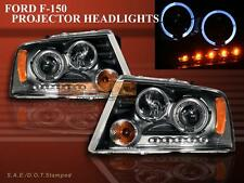 04-08 FORD F150 / 04-08 LINCOLN MARK LT PREJECTOR HEADLIGHTS BLACK TWO HALO LED