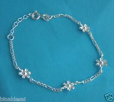 Kids Girls 925 STERLING SILVER TINY DAISY FLOWER FIGARO Chain Bracelet X'MasGIFT