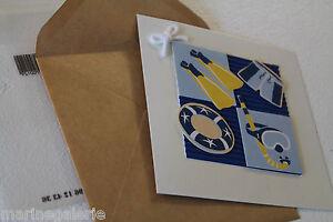 Lot scrapbooking cartes postales enveloppes carrées thème mer marin pour pièces