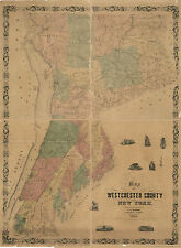 1858 Map of Westchester County NY from actual surveys Yonkers Peekskill