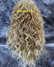 Long Curly Medium Blonde Mix Lace Front Full Wig Heat Ok Hair Piece #T27.613 NWT