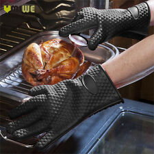 2 Pcs Heat Resistant Kitchen Oven Cooking BBQ Barbecue Gloves Thick Silicon