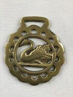 """Floating Swan 3"""" Vintage Horse Brass Harness Medallion"""